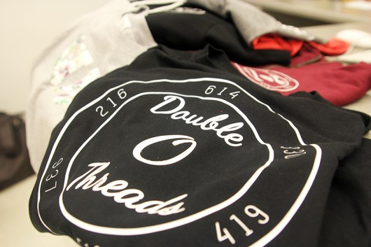 A sampling of Double O Threads' shirts. Credit: Ariana Bernard | Station Manager