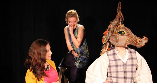 """McKenna Willis (left) as Hermia, Jennifer Geiger (center) as Puck, and Bryan Arnold (right) in OSU Department of theater's """"A Midsummer Night's Dream."""" Credit: Courtesy of Melissa Lee"""