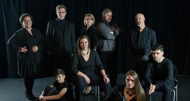 (Left to right) : Jenn Feather Youngblood (Beverly), Evan Farrenkopf (Steven), Travis Horseman (The Interviewer), Audrey Rush (Maggie, OSU alum), Julie Azelvandre (Felicity), Scott Douglas Wilson (Joe, OSU alum), Annie McAlpine (Agnes, OSU alum), Jim Azelvandre (Brian), John Connor (Mark, OSU alum). Credit: Courtesy of Michael Cristofer