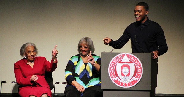 """Marlene Owens Rankin and Gloria Owens Hemphill, Jesse Owen's daughters, and actor Stephan James at the Feb. 15 showing of the movie """"Race"""" at the Mershon Auditorium. Credit: Michael Huson / Campus Editor"""