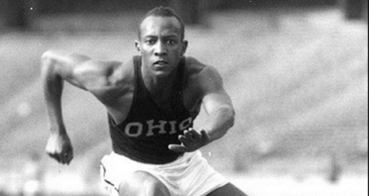 Jesse Owens hurdles during practice in 1936. Credit: Courtesy of OSU