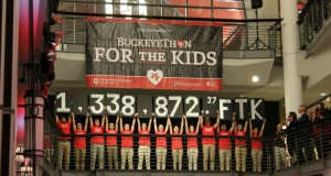 A grand total of $1,338,872.37 raised for support of children treated in the Hematology, Oncology and Bone Marrow Transplant Department at Nationwide Children's Hospital was revealed during the commencement of BuckeyeThon 2016 on Feb. 6. Credit: Michael Huson / Campus Editor