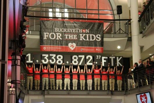 A grand total of $1,338,872.37 raised for support of children treated in the Hematology, Oncology and Bone Marrow Transplant Department at Nationwide Children's Hospital was revealed during the commencement of BuckeyeThon 2016 on Feb. 2. Credit: Michael Huson / Campus Editor