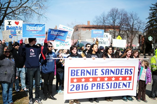 Hundreds of people met at Wexner Center Plaza on Feb 27, marching to express their support for the Democratic presidential candidate Bernie Sanders. Credit: Muyao Shen | Asst. Photo Editor