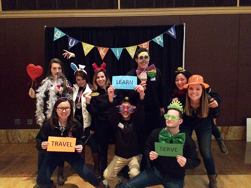Photo Booth Photo of the Buck-I-SERV Advisory Board at the 2016 Winter Trip Gala. Credit: Courtesy of Bailey Harr