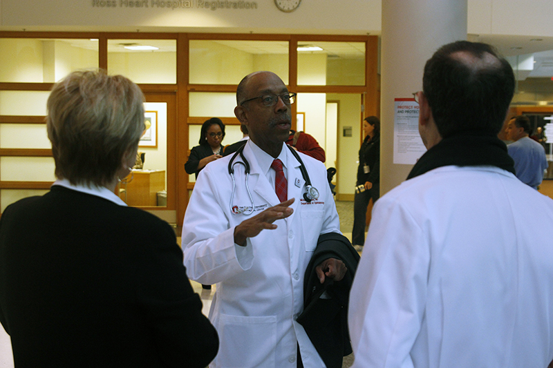 OSU President Michael Drake speaks during a tour of the Wexner Medical Center on Feb. 24. Credit: Jay Panandiker   Engagement Editor