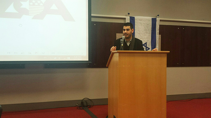 Jonathan Elkhoury speaks at the Ohio Union during a Buckeyes for Israel event on Feb. 2. Credit: Joely Friedman | Senior Lantern Reporter