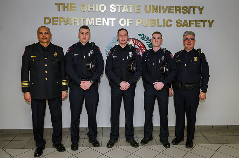 From left to right: Acting Chief Craig Stone, Officer Chris Dzubak, Kyle Yeager, Bruce Allen, and Captain Dave Rose after the badges had been pinned. Credit: Courtesy of Dan Mackey
