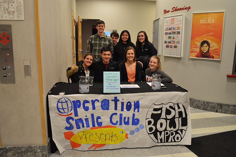 The Fishbowl Improv group and the Operation Smile Club collaborate during a Jan. 29 event to raise money to help children with cleft lips or cleft palates. Credit: Courtesy of Gabrielle Taphorn