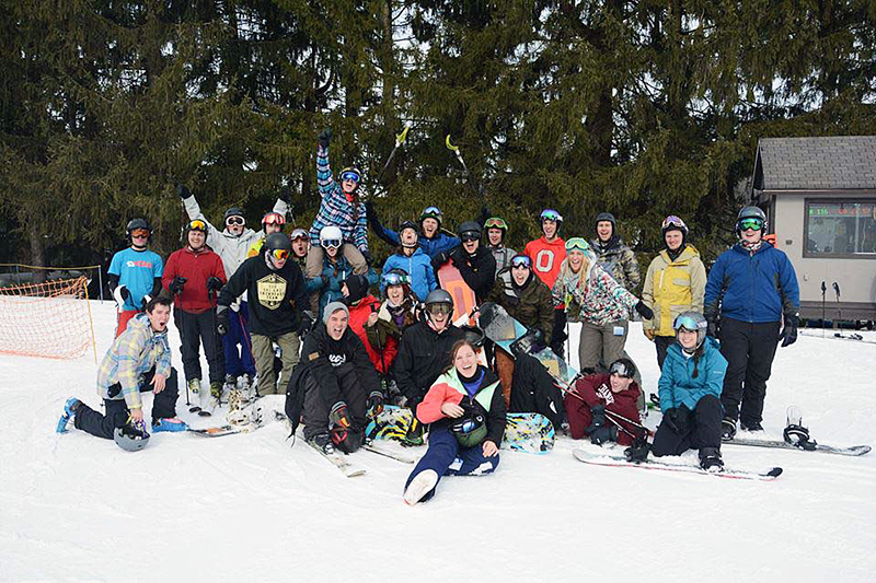 Members of the OSU Ski and Board Team at a race at Snow Trails. Credit: Courtesy of Hayley Hartman