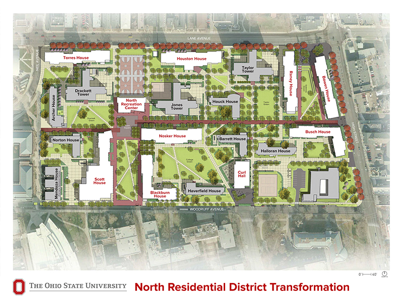 A rendering of what the North Residential District will look like when construction is done on its newest dorms. Credit: Courtesy of OSU Office of Student Life