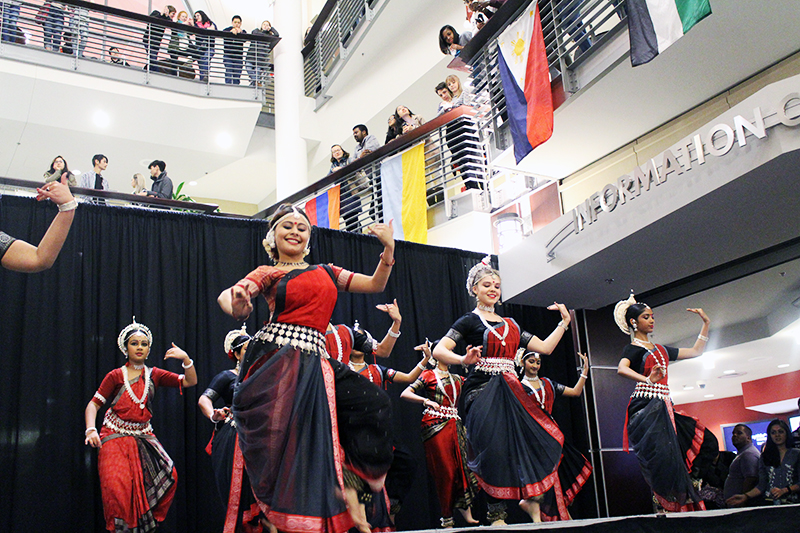 Odissi at Ohio State, a student club featuring Indian culture performs traditional indian dance at Taste of OSU at Ohio Union on Feb. 19. Credit: Shiyun Wang | Lantern Photographer