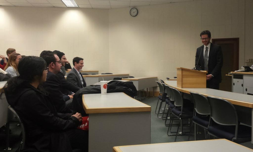 George Deek, an Arab-Israeli diplomat, speaks at Ohio State's Moritz College of Law Law School on Feb. 10. Credit: Joely Friedman / For The Lantern