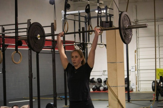 Lindsey Steinbeck, second-year medical student and President of medFIT, working out. Courtesy of Lindsey Steinbeck