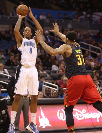 Then-Orlando Magic forward Channing Frye (8) takes a shot against the Atlanta Hawks at Amway Center in Orlando on Feb. 7. Credit: Courtesy of TNS