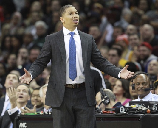 Cleveland Cavaliers coach Tyronn Lue questions an official's call during a game on Feb. 8 at in Cleveland. Credit: Courtesy of TNS