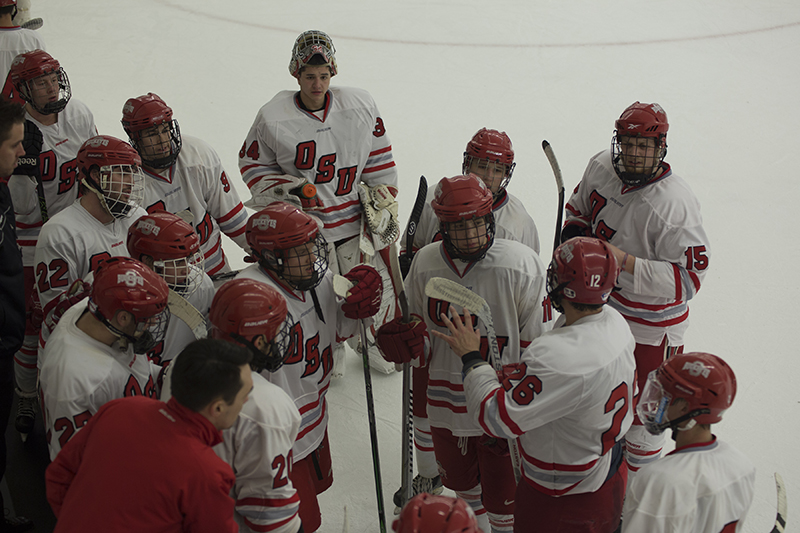 Members of OSU club men's hockey during a game against Indiana on Jan. 29. Courtesy of Morgan Clark