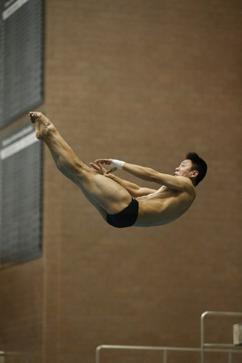 OSU sophomore Colin Zeng dives during a meet. Credit: Courtesy of OSU