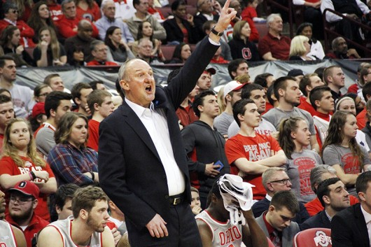 OSU coach Thad Matta yells out a play from the sidelines during a game against Michigan on Feb. 16 at the Schottenstein Center. Credit: William Kosileski | Lantern Photographer
