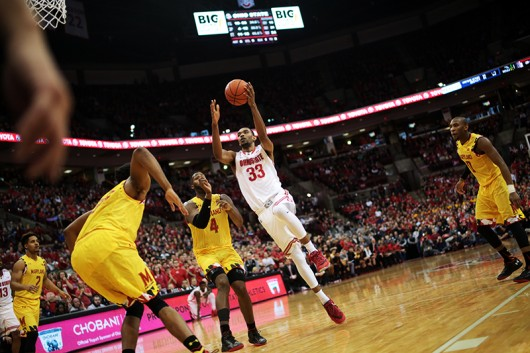 OSU sophomore Keita Bates-Diop (33) goes up for a shot during a game against Maryland on Jan. 31 at the Schottenstein Center. OSU lost, 61-66. Credit: Muyao Shen | Asst. Photo Editor