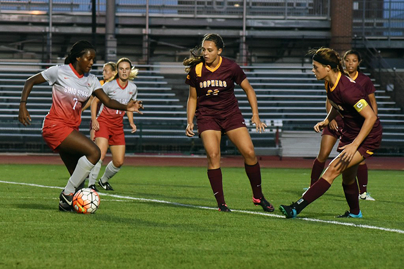 Then-junior forward Nichelle Prince (7) dribbles with the ball during a game against Minnesota on Sept. 17. Credit: Sam Harris | For The Lantern