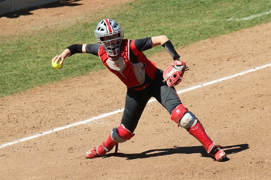 OSU senior catcher Cammi Prantl (22) prepares to throw the ball during a game. Credit: Courtesy of OSU