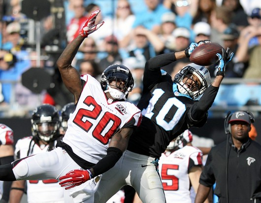 Former Buckeye and Carolina Panthers receiver Corey Brown (10) goes up for a catch during the NFC Championship Game against Arizona on Jan. 3 in Charlotte, North Carolina. Credit: Courtesy of TNS