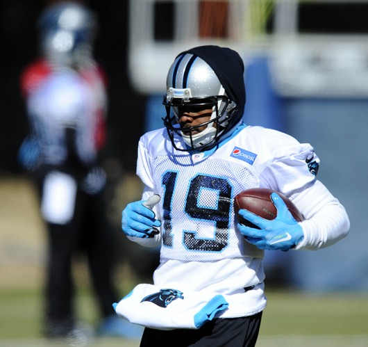 Former Buckeye and Carolina Panthers wide receiver Ted Ginn Jr. (19) during practice on Jan. 21, in preparation for the NFC Championship Game against the Arizona Cardinals. Credit: Courtesy of TNS