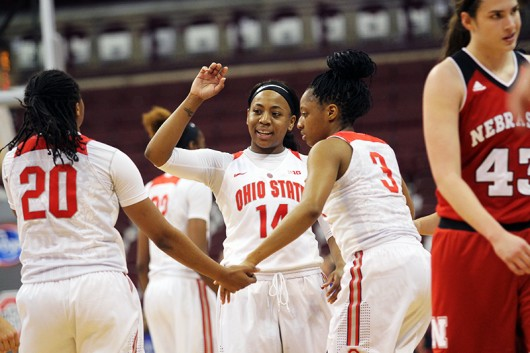 OSU women's basketball players celebrate during a game against Nebraska on Feb. 18 at the Schottenstein Center. Credit: Samantha Hollingshead | Photo Editor