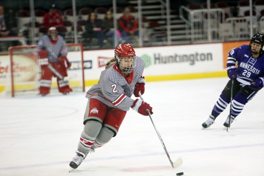 OSU senior defenseman Cara Zubko (2) during a game against Minnesota State on Oct. 24 2015 at Schottenstein Center. Credit: Muyao Shen | Asst. Photo Editor
