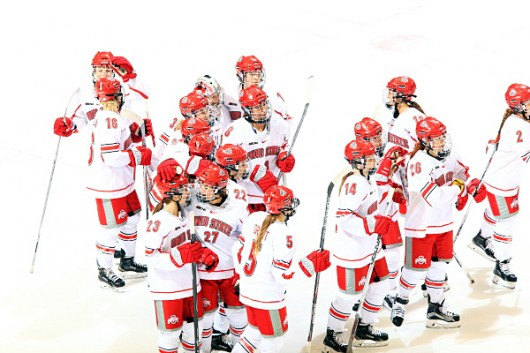 Members of OSU women's hockey team during a game against Minnesota State on Oct. 23. Credit: Courtesy of OSU