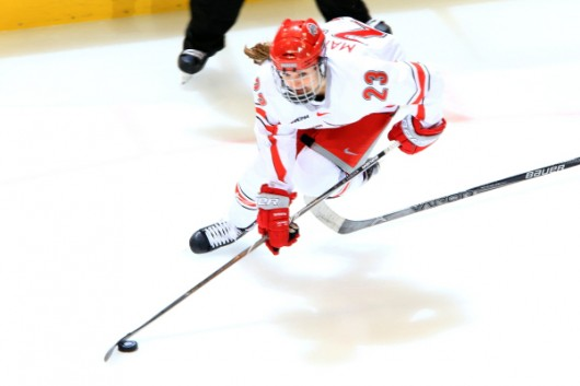 OSU junior forward Katie Matheny (23) skates with the puck during a game against Minnesota State on Oct. 23. Credit: Courtesy of OSU