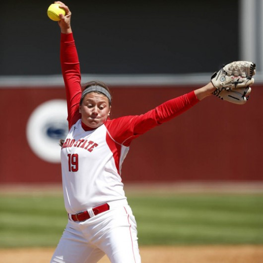 OSU pitcher Shelby Hursh (19) pitches versus Northwestern on April 28, 2014. Credit: Courtesy of OSU