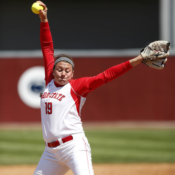 OSU then-freshman pitcher Shelby Hursh (19) throws a pitch during a game against Northwestern on April 28, 2014. Credit: Courtesy of OSU