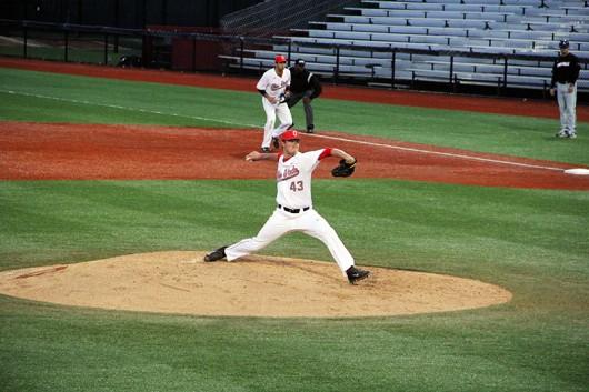 OSU redshirt sophomore pitcher Adam Niemeyer (43) pitches during a game on April 14 at Bill Davis Stadium. Credit: Lantern File Photo