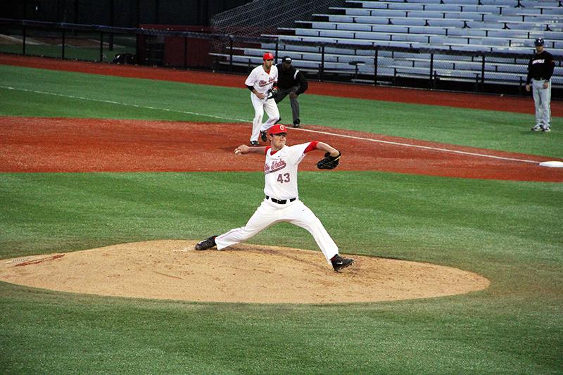 OSU then-redshirt sophomore pitcher Adam Niemeyer (43) pitches during a game on April 14 at Bill Davis Stadium. Credit: Lantern File Photo