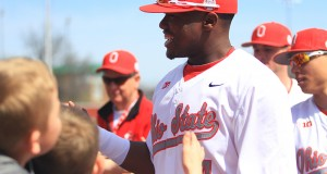 OSU then-sophomore Ronnie Dawson signs autographs before a game on April 12 at Bill Davis Stadium. Credit: Lantern File Photo