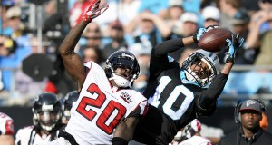 Carolina Panthers' Corey Brown (10) makes a reception past Atlanta Falcons' Phillip Adams (20) late in the second quarter on Sunday, Dec. 13, 2015, at Bank of America Stadium in Charlotte, N.C. (David T. Foster III/Charlotte Observer/TNS)