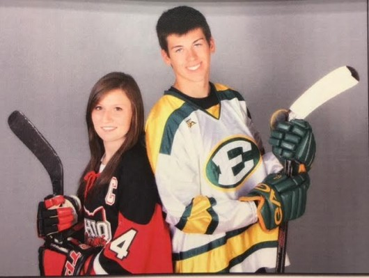 Current OSU players Maggie Rothgery and Nick Crosby during their days on the Ohio Flames and St. Edwards Eagles, respectively. Credit: Courtesy of Maggie Rothgery