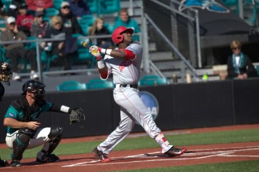OSU junior left fielder Ronnie Dawson (4) takes a swing during a game against Coastal Carolina on Feb. 27 in Conway, South Carolina. Credit: Courtesy of OSU