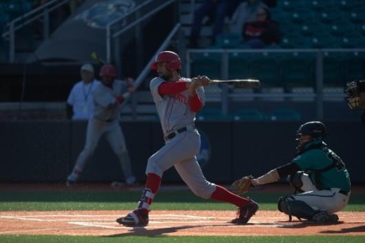 OSU redshirt junior right fielder Jacob Bosiokovic (17) takes a swing during a game against Coastal Carolina on Feb. 28. Credit: Courtesy of OSU