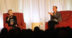 Megan Rapinoe (left) and Abby Wambach (right) speak during an OUAB event on March 28 at The Ohio Union. Credit: Samantha Hollingshead | Photo Editor