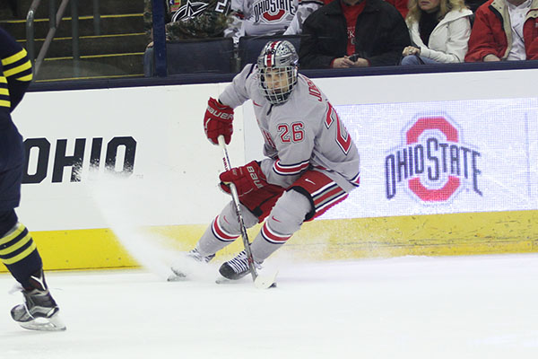 OSU freshman forward Mason Jobst (26) during a game against Michigan on March 6 at Nationwide Arena. Credit: Samantha Hollingshead | Photo Editor