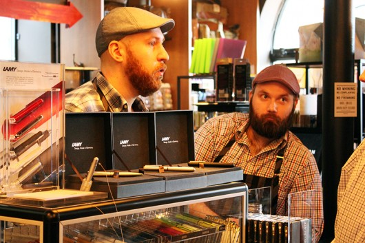 Robert Grimmett (left) and Kevin Koechle (right) speak to a customer on March 24, 2016 at Robert Mason Company in the Short North of Columbus, Ohio. The Robert Mason Company brand has been around for 25 years now. Credit: Mitch Hooper | Lantern reporter