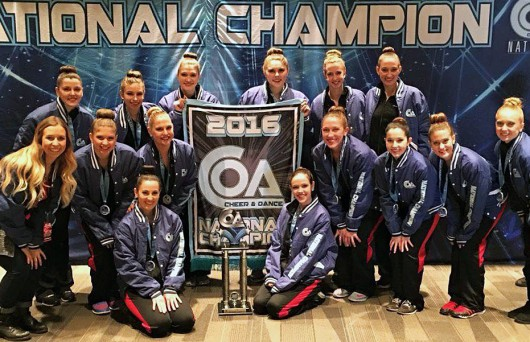 The Ohio State University Club Dance Team poses for a picture at the 2016 National Championship. Credit: Courtesy of Amanda Coleman