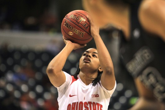 OSU sophomore guard Asia Doss (20) shoots a free throw during the second half a game against Michigan State in the Big Ten tournament on March 5 in Indianapolis. OSU lost, 82-63. Credit: Kevin Stankiewicz | Oller Reporter