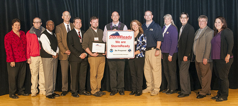 Ohio State was presented with the StormReady designation at the Severe Weather Symposium at the Ohio Union. Credit: Courtesy of Office of Administration and Planning