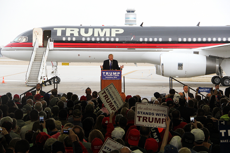 Republican presidential candidate Donald Trump speaks during a rally at Columbus International Airport on March 1. Credit: Daniel Herbener | Lantern Reporter