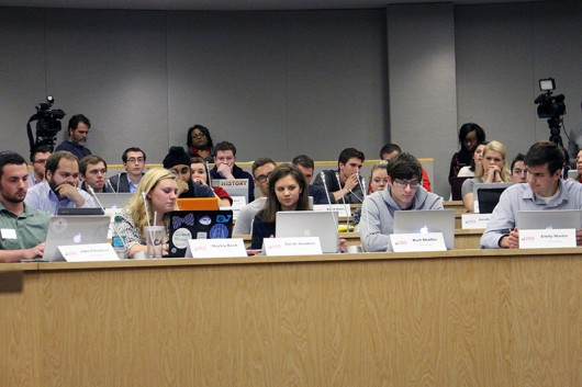 Members of USG listen during a meeting on Dec. 12. Credit: Lantern File Photo