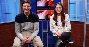 USG candidates Gerard Basalla and Danielle Di Scala pose for a photo in The Lantern TV studio on Feb. 25. Credit: Lantern file photo